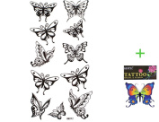 GGSELL King Horse Waterproof and sweat tattoo stickers sexy black butterfly