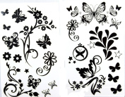 GGSELL latest LW hot selling 1 package with 2pcs waterproof black flower and butterfly fake tattoos