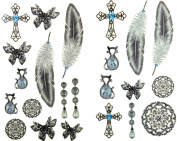GGSELL latest LW hot selling 1 package with 2pcs waterproof jewellery pearl cross feather butterfly temporary tattoos