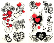 GGSELL latest LW hot selling 1 package with 2pcs waterproof red heart black star flower and butterfly temporary tattoos