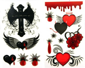 GGSELL latest LW hot selling 1 package with 2pcs waterproof red heart flower angel wing and cross temporary tattoos