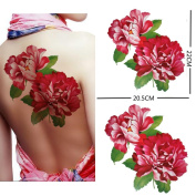 Extra large size red peony flower temporary tattoos 22cm x20cm Inches