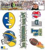 The Gameface Company Sport Face Tear and Share Blue and Gold Team Temporary Tattoo Sticker