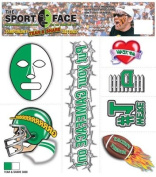 The Gameface Company Sport Face Tear and Share Green and White Team Temporary Tattoo Sticker