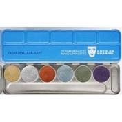 Kryolan Aquacolor Metallic 6 Colours Palette Face Body Paint Foundation 1117
