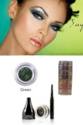 "Mica Beauty Cosmetics Mineral Makeup Gel Eyeliner Brown + Aviva Shimmer Eye Shadow 3 stacks ""Green Eyes"""