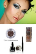 "Mica Beauty Cosmetics Mineral Makeup Gel Eyeliner Chocolate Mousse + Aviva Shimmer Eye Shadow 3 stacks ""Green Eyes"""