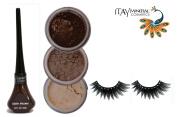 "ITAY Mineral Cosmetic 3 Stack Eye Shimmer ""Sahara Dune"" Kit (2.5g each) + ""Brown"" Liquid Eyeliner (0.12Fl.Oz) + Cala Fashion Eyelashes"