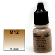 Airbrush Makeup Foundation Matte Finish M12 All Spice Water-based Makeup Long Lasting All Day Without Smearing Running, Fading or Caking 5ml Bottle By Glam Air