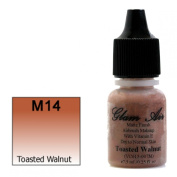 Airbrush Makeup Foundation Matte Finish M14 Toasted Walnut Water-based Makeup Long Lasting All Day Without Smearing Running, Fading or Caking 5ml Bottle By Glam Air