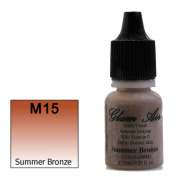 Airbrush Makeup Foundation Matte Finish M15 Summer Bronze Water-based Makeup Long Lasting All Day Without Smearing Running, Fading or Caking 5ml Bottle By Glam Air