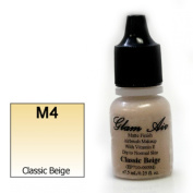 Airbrush Makeup Foundation Matte Finish M4 Classic Beige Water-based Makeup Long Lasting All Day Without Smearing Running, Fading or Caking 5ml Bottle By Glam Air