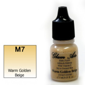 Airbrush Makeup Foundation Matte Finish M7 Warm Golden Beige Water-based Makeup Long Lasting All Day Without Smearing Running, Fading or Caking 5ml Bottle By Glam Air
