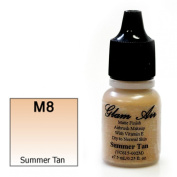 Airbrush Makeup Foundation Matte Finish M8 Summer Tan Water-based Makeup Long Lasting All Day Without Smearing Running, Fading or Caking 5ml Bottle By Glam Air