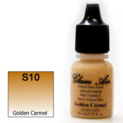 Airbrush Makeup Foundation Satin S10 Golden Carmel Water-based Makeup Long Lasting All Day Without Smearing Running, Fading or Caking 5ml Bottle By Glam Air