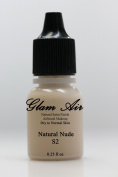 Airbrush Makeup Foundation Satin S2 Natural Ivory Water-based Makeup Long Lasting All Day Without Smearing Running, Fading or Caking 5ml Bottle By Glam Air