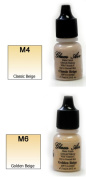 Airbrush Makeup Foundation Matte M4 Classic Beige and M6 Golden Beige Water-based Makeup Long Lasting All Day Without Smearing Running, Fading or Caking 5ml Bottle By Glam Air