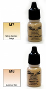 Airbrush Makeup Foundation Matte M7 Warm Golden Beige and M8 Summer Tan Water-based Makeup Long Lasting All Day Without Smearing Running, Fading or Caking 5ml Bottle By Glam Air