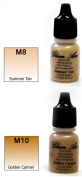 Airbrush Makeup Foundation Matte M8 Summer Tan and M10 Golden Carmel Water-based Makeup Long Lasting All Day Without Smearing Running, Fading or Caking 5ml Bottle By Glam Air