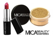 MicaBeauty Mineral Loose Powder Foundation 9gr MF5-Cappuccino + Moisturising Shimmer Lipstick 12C + Aviva Small Snow Man Nail Shiner