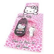 """Gloss """"Hello Kitty"""" + black accessory phone."""