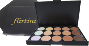 FLIRTINI 3D Look Cream Foundation and Camouflage Concealer 15 colour makeup palette. Versatile uses for Cheeks,Lips,and Eyes