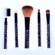 Ostart 5 Pcs Cosmetic Makeup Tool Brush Kit Travel Set - Black