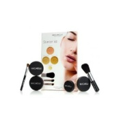 "Mica Beauty Flawless Mineral Make Up Starter Kit ""Dark"" with 2 Foundations ""Cream Caramel"" & ""Chocolate Kisses"", 1 Blush ""Sierra Suede"", 1 Eyeshadow, & 3 Application Brushes + A-Viva Nail Buffer"