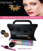 """Itay Beauty 8 Stack """"Caribbean Samba"""" Eye Shadow Shimmer+ Trend Purple G3 LED Stainless Steel Tweezers+ Sample Size Mineral Itay Foundation MF-3 Cafel"""