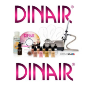 Airbrush Makeup Kit Dinair PRO EDITION, 8 Makeup Colours/Shades Salon Quality CHAMPAGNE SILVER-COMPRESSOR - DARK COMPLEXION