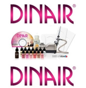 Airbrush Makeup Kit Dinair PRO EDITION, 8 Makeup Colours/Shades Salon Quality WHITE PEARL-COMPRESSOR - DARK COMPLEXION
