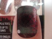 28 RED WITH SILVER SPIDER WEB DESIGN NAIL & TOE STRIPS