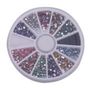 1800pcs 2mm 12 Colour Nail Art Rhinestones Glitter Tips Round Shape Deco + Wheel