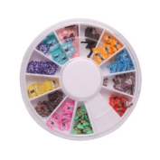 SODIAL- 144 Pcs 12 Colour 3D Butterfly Shaped Nail Art Fimo Slice Slices Decal Pieces Decoration w/ Wheel