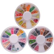 3 Wheels Combo 288pcs Animal & Fruit & Flower Shape Nail Art Fimo Slices Tips Decal Pieces 3D Decor
