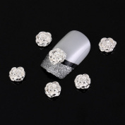 Yesurprise Silver Rose Flower 10 pieces Silver 3D Alloy Nail Art Slices Glitters DIY Decorations
