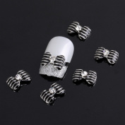 Yesurprise Special Silver Black Bow Tie 10 pieces Silver 3D Alloy Nail Art Slices Glitters DIY Decorations