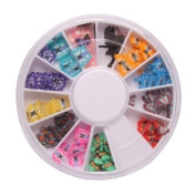 350buy 144 Pcs 12 Colour 3D Butterfly Shaped Nail Art Fimo Slice Slices Decal Pieces Decoration w/ Wheel