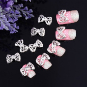 Yesurprise 10pcs White Bow Tie 3D Alloy Rhinestones Nail Art Glitters Slices DIY Decoration