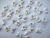 Nail Art 3d 40 Piece White BOW TIE /RHINESTONE for Nails, Cellphones 1.1cm