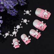 Yesurprise 10pcs White Skull 3D Alloy Nail Art Glitters Slices DIY Decoration