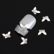 Yesurprise Special Silver White Butterfly 10 pieces Silver 3D Alloy Nail Art Slices Glitters DIY Decorations