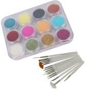 12 Colour Nail Art Sparkle Glitter Powder Dust Tips Decoration + 15pcs Painting Brush Dotting Pen Set