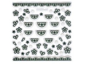 Iridescent Glitter White & Black Floral Lace Trim Doily Nail Stickers/Decals