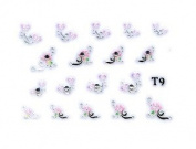 Pink Butterflies & Floral Rhinestone Nail Stickers/Decals