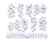 Pink Faux Acrylic Floral w/ Rhinestone Nail Stickers/Decals