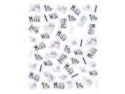 """Words """"I Love/Miss/Wish You"""" Embellished Nail Stickers/Decals"""
