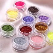 350buy 12pcs Colour Glitter Powder Dust Nail Art Tip Decoration