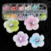350buy 12 Colours 3D Acrylic Flowers 10mm with Glitter Coating for Nail Art Decoration