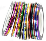 30Pcs Mixed Colours Rolls Striping Tape Line Nail Art Tips Decoration Sticker from Y2B